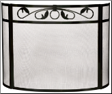 3 Fold Heavy Black Wrought Iron Bow Fireplace Screen with Top Scroll Design  (SKU: S-1212)