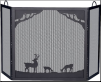 Deluxe 3-Panel Black Wrought Iron Fireplace Screen with Deer In Forest Scene