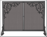 Single Panel Olde World Iron Fireplace Screen with Doors And Cast Scrolls (SKU: S-1471)