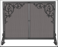 Single Panel Olde World Iron Fireplace Screen with Doors And Cast Scrolls