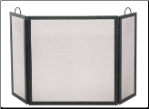 3 Fold Black Wrought Iron Medium Fireplace Screen (SKU: S-1504)