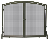 Single Panel Bronze Fireplace Screen with doors (SKU: S-1632)