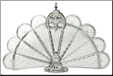 Pewter Finish Ornate Fireplace Fan Screen (SKU: S-1650)