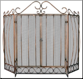 3 Fold Venetian Bronze Fireplace Screen with Bowed Bar Scrollwork
