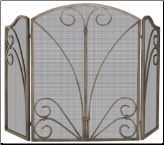 3 Fold Venetian Bronze Fireplace Screen with Decorative Scrollwork (SKU: S-1662)