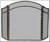 3 Panel Antique Rust Finish Wrought Iron Fireplace Screen with Arched Top (SKU: S-1692)