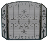3 Fold Graphite Screen with Decorative Scrollwork (SKU: S-1981)
