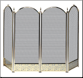 4 Fold Triple Plated Brass Fireplace Screen with Decorative Filigree (SKU: S--)