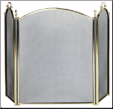 3  Fold Large Diameter Polished Brass Fireplace Screen With Woven Mesh