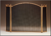 3 Panel Polished Solid Brass Fireplace Screen (SKU: 3020)