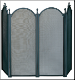 4  Fold Large Diameter Black Fireplace Screen With Woven Mesh