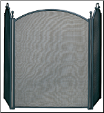 3  Fold Large Diameter Black Fireplace Screen With Woven Mesh
