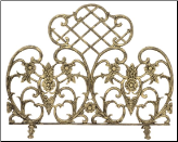 Single Panel Antique Gold Cast Aluminum Fireplace Screen (SKU: S-5502)