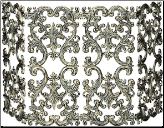 4 Fold Antique Gold Cast Aluminum Fireplace Screen (SKU: S-5531)