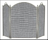 3 Fold Satin Pewter Fireplace Screen (SKU: S-7539)