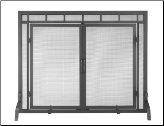 Black Fireplace Screen with Doors (SKU: 80028)