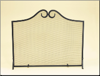 One Panel Black Fireplace Screen with Scroll Top