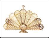 Polished Brass Shell Fireplace Fan Screen (SKU: S-2092)
