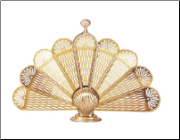 Polished Brass Shell Fireplace Fan Screen