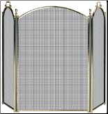 3 Fold Premium Brass Fireplace Screen (SKU: S-9201)