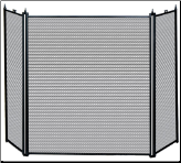 3 Fold Black Uniflame Fireplace Screen (SKU: S31030BK)