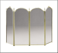 Plated Brass Four-Fold Fireplace Screen