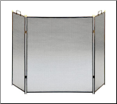 Black Straight Lined Three-Fold Fireplace Screen (SKU: SCR-11)