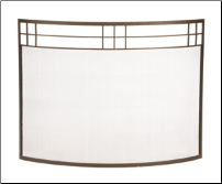 Single Panel Arts & Crafts Curved Fireplace Screen