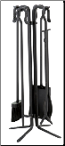 5 Piece Uniflame Black Wrought Iron Small Fireplace Tools w/Crook Handles (SKU: T18070BK)