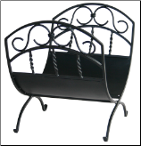 Black Wrought Iron Log Holder with Scrollwork (SKU: W-1035)