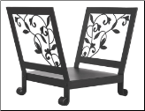 Black Log Rack with Flowing Leaf Design (SKU: W-1045)