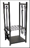 Black Wrought Iron Log Rack with Fireplace Tools (SKU: W-1052)