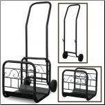 Large Black Wrought Iron Log Rack With Wheels and Removable Cart (SKU: W-1058)