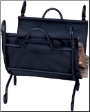 Ring Swirl Black Log Rack with Canvas Carrier (SKU: W-1125)
