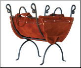Olde World Iron Log Holder with Suede Leather Carrier (SKU: W-1196)