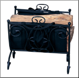 Heavy Weight Black Wrought Iron Log Holder with Canvas Carrier (SKU: W-1199)