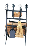 Log and Kindling Rack with Fireplace Tools (SKU: W-1246)