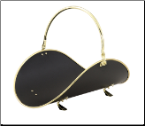 "21"" POLISHED BRASS /BLACK WOODBASKET W/POLISHED BRASS  TRIM (SKU: W-3326)"