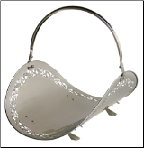 Satin Pewter Woodbasket with Filigree (SKU: W-7530)