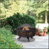 OIL RUBBED BRONZE OUTDOOR FIREBOWL WITH GEOMETRIC DESIGN (SKU: WAD1009SP)