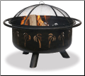 Uniflame Oil Rubbed Bronze Outdoor Fireplace w/Palm Tree Design (SKU: WAD850SP)