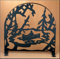 "Canoe At Lake Arched Fireplace Screen 30""W X 30""H"