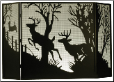 "Deer On The Loose or Deer At Dawn 3 Piece Folding Fireplace Screen 62""W X 40""H (SKU: MT--)"