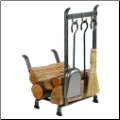 Country Home Log Rack With Fireplace Tools (SKU: EN-LR11T)