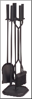4 Piece Cylinder Handled Fireplace Tool Set