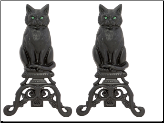 Black Cast Iron Cat Andirons with Reflective Glass Eyes (SKU: A-1251)