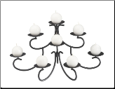 Eight Candle Black Fireplace Candelabra (SKU: 304130)