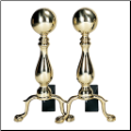 Solid Brass Medium Ball Andirons (SKU: A-9122)
