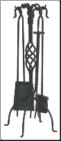 5 Piece Uniflame Black Wrought Iron Fireplace Tools With Center Weave