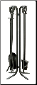 5 Piece Black Wrought Iron Fireplace Tools (SKU: F-11140)